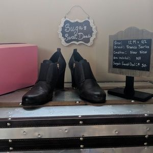 Franco Sarto sz 12 leather bootie brown